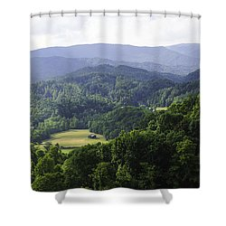An Old Shack Hidden Away In The Blue Ridge Mountains Shower Curtain