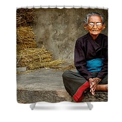 An Old Woman In Bhaktapur Shower Curtain by Valerie Rosen