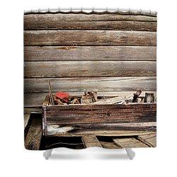 An Old Wooden Toolbox Shower Curtain by Lynn Jordan