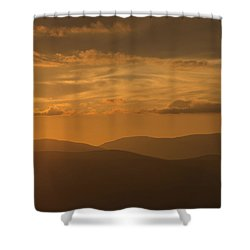 An Orange Vermont Sunset Shower Curtain