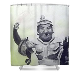 Shower Curtain featuring the painting An Oriental Statue At Toledo Art Museum - Ohio by Yoshiko Mishina