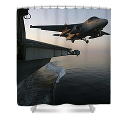An S-3b Viking Clears The Flight Deck Shower Curtain by Stocktrek Images
