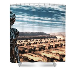 Shower Curtain featuring the digital art An Untitled Future by John Alexander