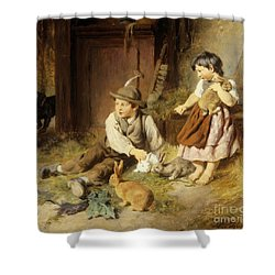 An Unwelcome Visitor Shower Curtain by Felix Schlesinger