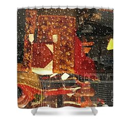 Taking The Train On A  Rainy Day  Shower Curtain by Kathie Chicoine