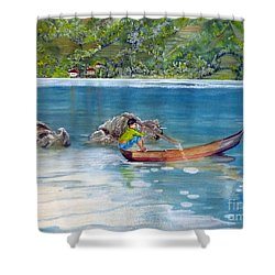 Shower Curtain featuring the painting Anak Dan Perahu by Melly Terpening