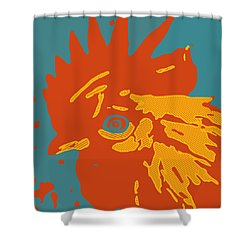 Analog Rooster Rocks Shower Curtain
