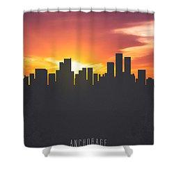Anchorage Alaska Sunset Skyline 01 Shower Curtain by Aged Pixel