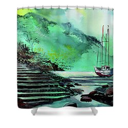 Shower Curtain featuring the painting Anchored by Anil Nene