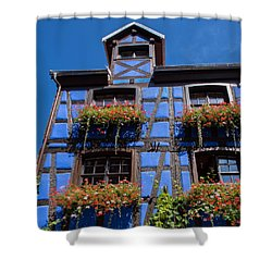 Ancient Alsace Auberge In Blue Shower Curtain