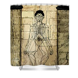 Ancient Art Mural Depicting The Sen Lines Shower Curtain