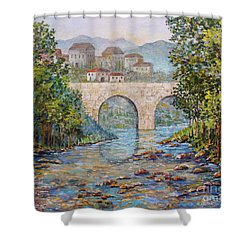 Ancient Bridge Shower Curtain by Lou Ann Bagnall