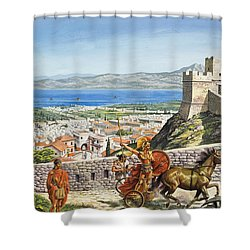 Ancient Corinth Shower Curtain by Roger Payne