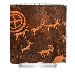 Ancient Indian Petroglyphs Shower Curtain by Gary Whitton