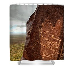 Ancient Petroglyph At Three Rivers Petroglyph Site Shower Curtain