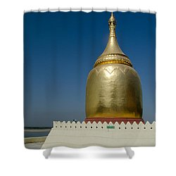 Ancient Riverside Stupa Along The Irrawaddy River In Burma Shower Curtain