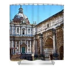 Shower Curtain featuring the photograph Ancient Ruins At The Roman Forum by Eduardo Jose Accorinti