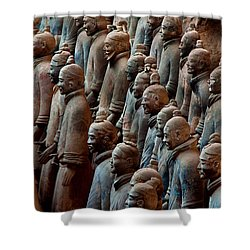 Ancient Soldier Statues Stand At Front Shower Curtain by O. Louis Mazzatenta