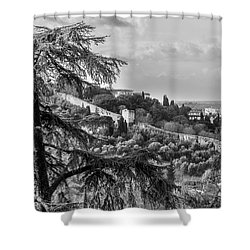 Ancient Walls Of Florence-bandw Shower Curtain