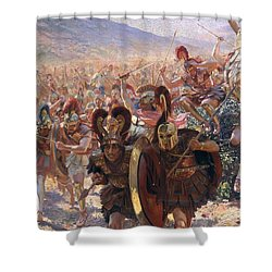 Ancient Warriors Shower Curtain by Georges Marie Rochegrosse