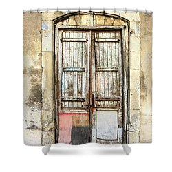 Ancient Wooden Door In Old Town. Limassol. Cyprus Shower Curtain