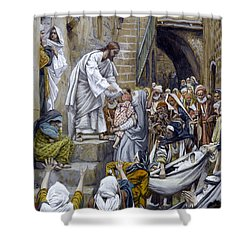 And All The City Was Gathered Together At The Door Shower Curtain by Tissot