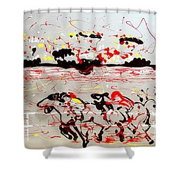 And Down The Stretch They Come Shower Curtain by J R Seymour