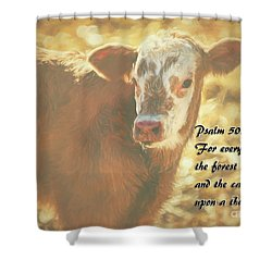 And The Cattle Shower Curtain by Janice Rae Pariza