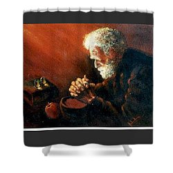 And The Old Man Prayed Shower Curtain