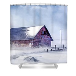 Shower Curtain featuring the painting Anderson Dock Winter Storm by Christopher Arndt