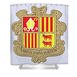Shower Curtain featuring the drawing Andorra Coat Of Arms by Movie Poster Prints