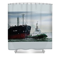Andrew Foss Ship Assist Shower Curtain by James Williamson