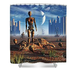 Android Fossils Preserved Shower Curtain by Mark Stevenson