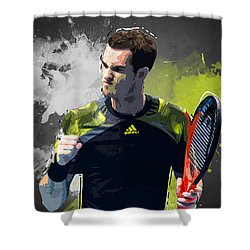 Andy Murray Shower Curtain by Semih Yurdabak
