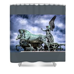 Angel And Chariot With Horses Shower Curtain