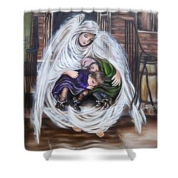 Flying Lamb Productions.        Angel And The Orphans Shower Curtain