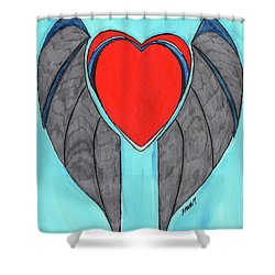 Angel Heart Shower Curtain by Ronald Woods