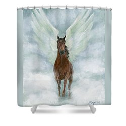 Angel Horse Running Free Across The Heavens Shower Curtain