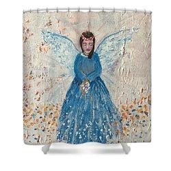 Angel In Blue Shower Curtain by Jun Jamosmos