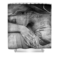 Shower Curtain featuring the photograph Angel In Mourning - Angel Crying Sad Cemetery Mourner At Grave - Angel Love Script Valentine Print by Kathy Fornal