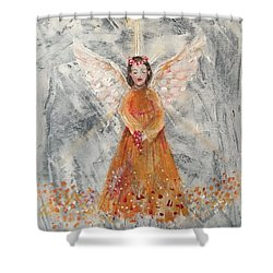 Angel In Orange Shower Curtain by Jun Jamosmos