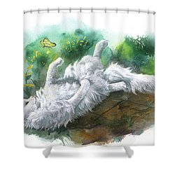 Shower Curtain featuring the painting Angel In The Morning by Sherry Shipley