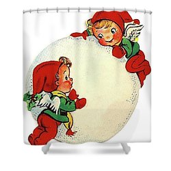 Angel Kids With Big Snowball Shower Curtain