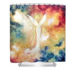 Shower Curtain featuring the painting Angel Light by Marina Petro