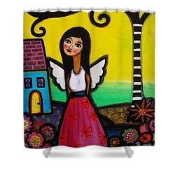 Angel Nilda Shower Curtain by Pristine Cartera Turkus