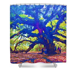 Shower Curtain featuring the photograph Angel Oak Tree by Donna Bentley