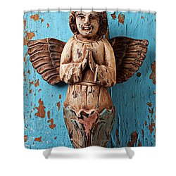 Angel On Blue Wooden Wall Shower Curtain by Garry Gay