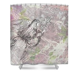 Shower Curtain featuring the painting Angel On Pink And Green Florals by Judith Cheng