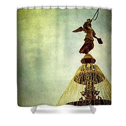 Angel On The Fountain Shower Curtain