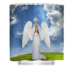 Angel Releasing A Dove Shower Curtain by Jill Battaglia